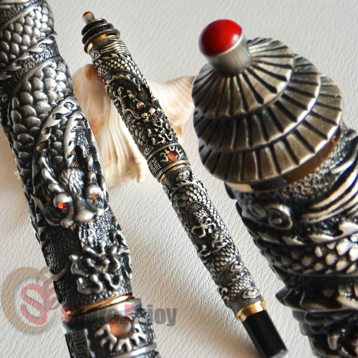 JINHAO OLD GREY TWO DRAGON PLAY PEARL 18KGP FINE NIB FOUNTAIN PEN PAGODA jinhao business gifts writing ink pen black with old grey snake wind medium 18kgp nib 3d metal fountain pen