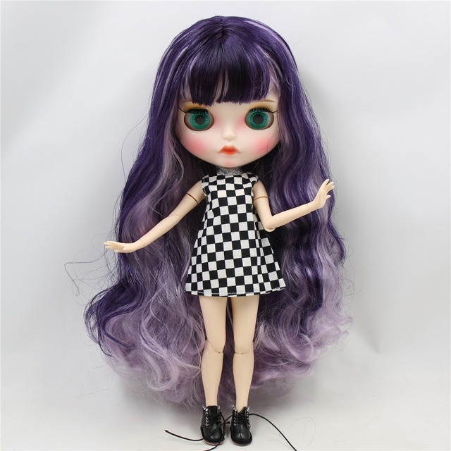 ICY Neo Blythe Doll White Purple Violet Hair Jointed Body