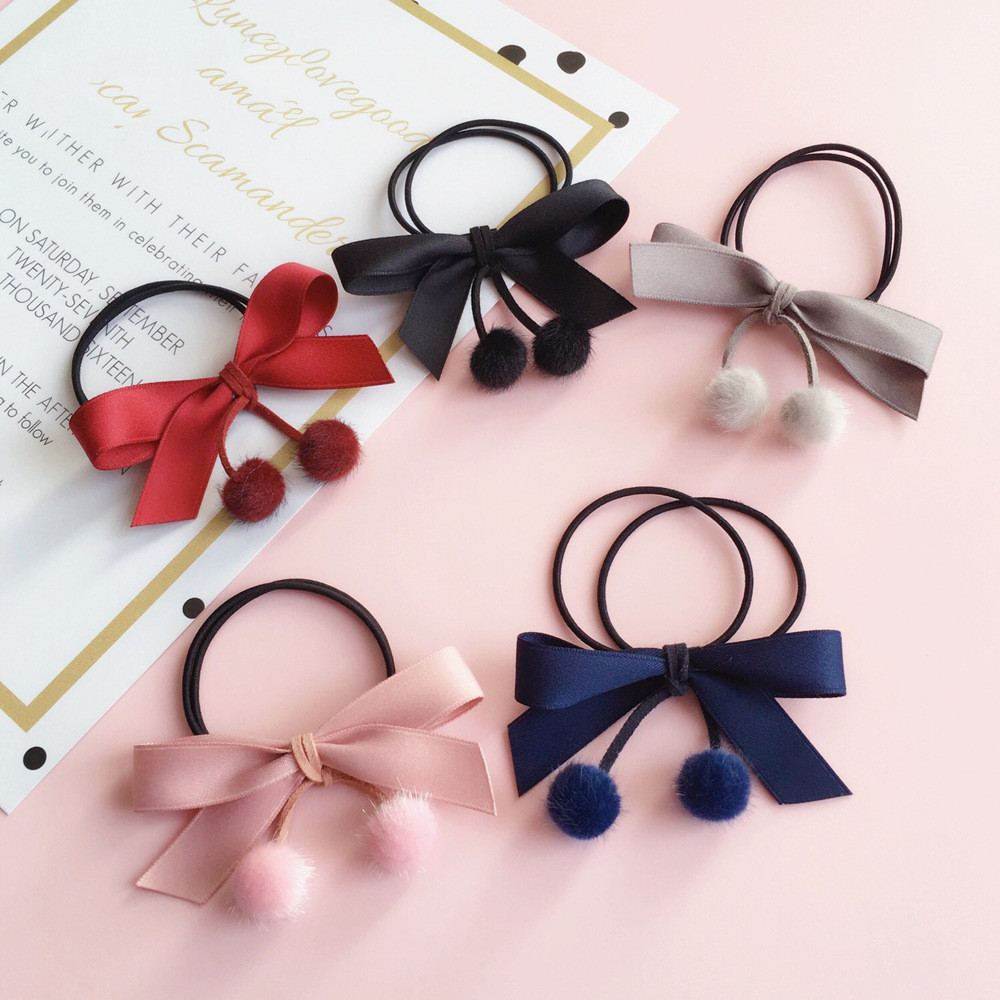 For Girls Flannelette Bow Elastic Hair Band Pompon Pendant Hair Tie Ponytail Holder Women Elastic Hair Rope Hair Accessories