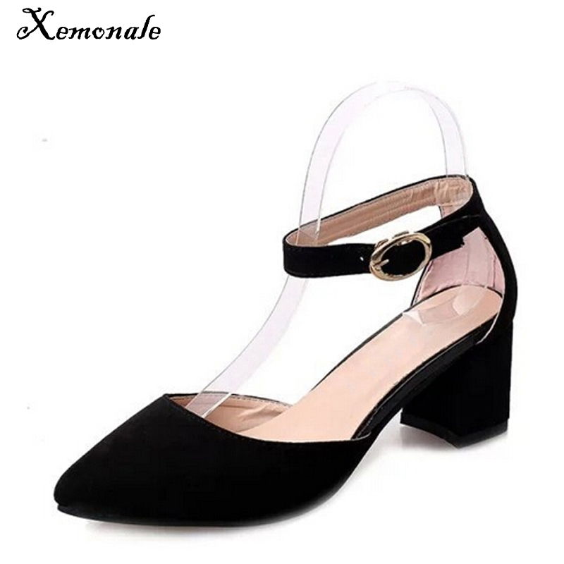 Xemonale Summer Style PumpsShoes Flock Pointed Toe Mary Janes High Heels Casual Autumn Elegant Ladies Strap Shoes Woman WZH5967 women pumps flock high heels shoes woman fashion 2017 summer leather casual shoes ladies pointed toe buckle strap high quality