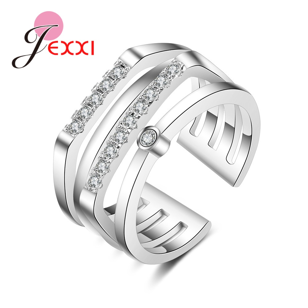 Explosion 925 Sterling Silver 4 Row Ring Pliers Crystal Zircon Jewelry For Holiday Party Wedding Supplies