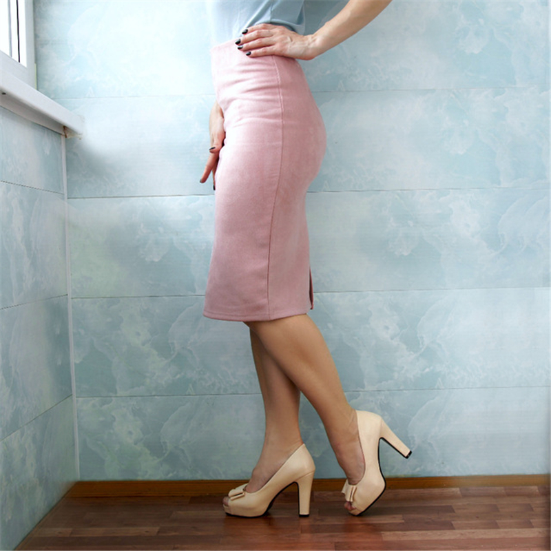 Neophil 2019 Winter Women Suede Midi Pencil Skirt High Waist Gray Pink XXL Sexy Style Stretch