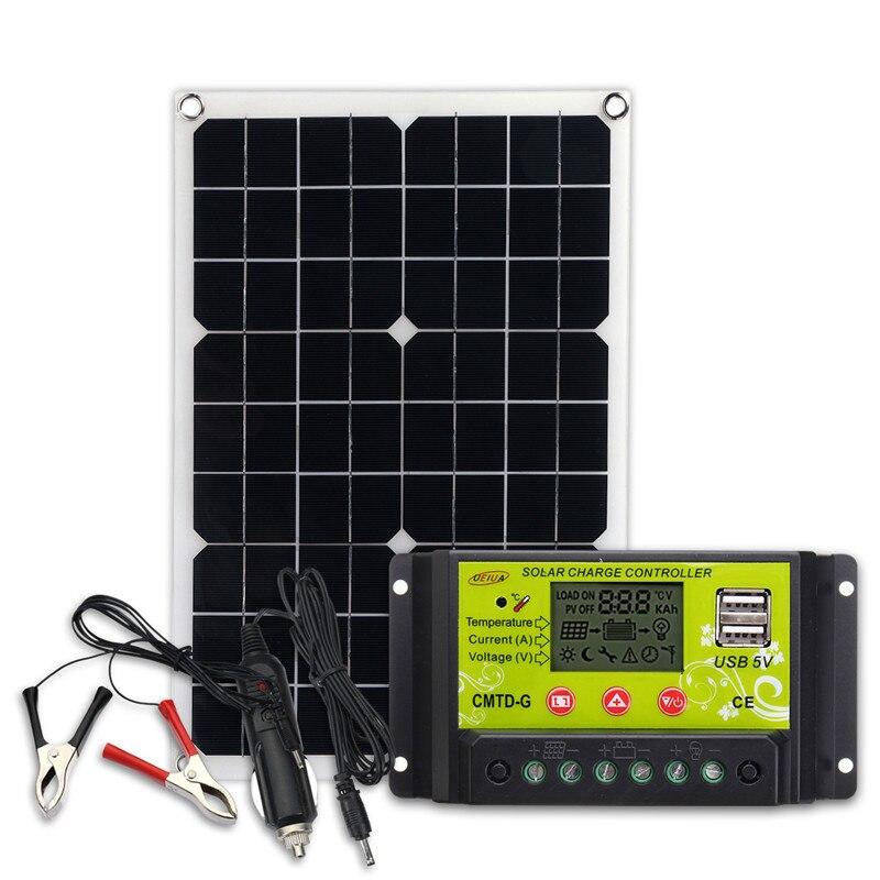 20W 12V/5V Solar Panel USB Charger For Phone Lighting RV Boat +12/24V Solar Controller
