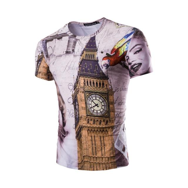 c1cacd9ad 3D Printing Marilyn Monroe Big Ben Pattern T-shirt Tee Men Fashion 3D  Animal T-Shirt Water Droplets Short Sleeve T Shirt