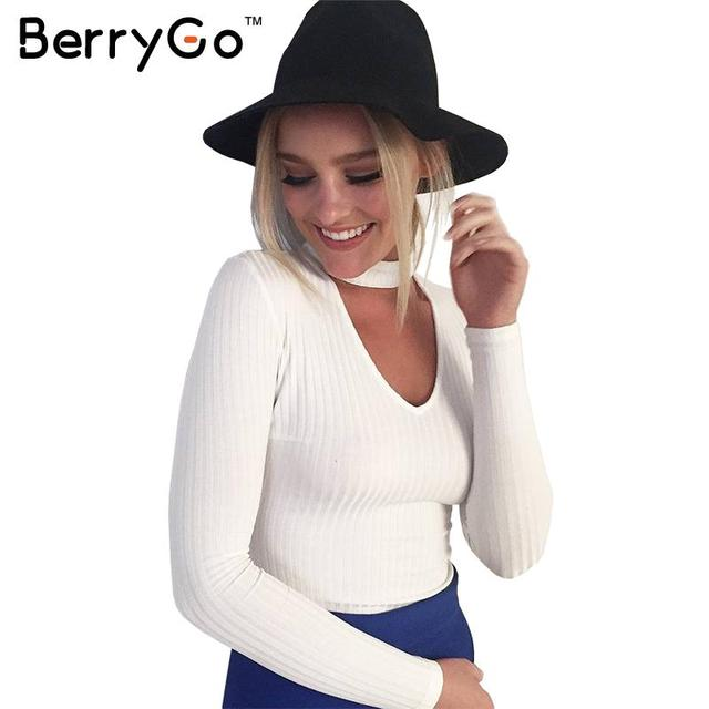 BerryGo Осень зима черный короткий вязаный свитер Белый сексуальная пуловер женщины топы Slim v шеи длинным рукавом chic перемычек тянуть femme