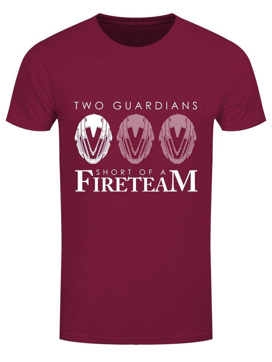 Two Guardians Short Of A Fireteam Mens Burgundy T-shirt