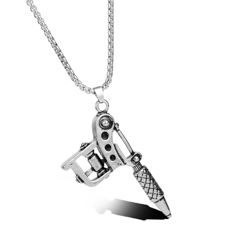 MQCHUN 1PC Vintage Silver Color Mini Tattoo Machine Necklace Punk Style Tattoo Gun Pendant Necklace Women Men Hip Hop Jewelry