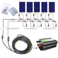 500Wattts Complete Kit 5 100W Poly PV Solar Panel For 12V RV Battery Charge Boat Off