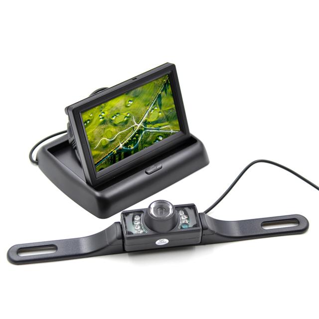 Moldura Da Placa de Licença do carro Rear View Camera + Monitor de LCD Carro Dobrável