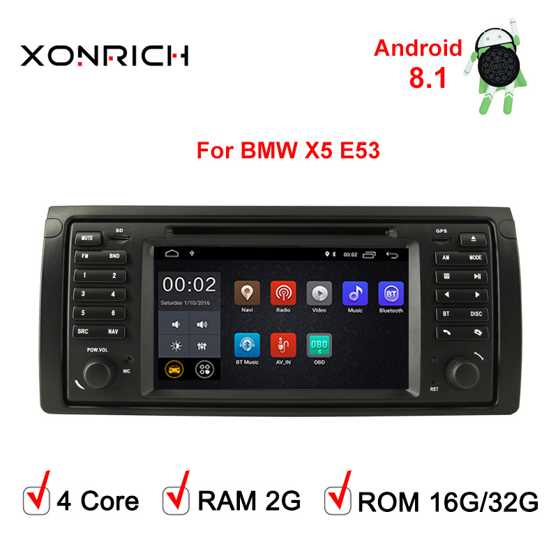 Car Multimedia Player 1 Din Android 8.1 Quad Core GPS Stereo  AutoRadio DVD For BMW X5 E53 Automotivo Audio Wifi 4GCanbus OBD