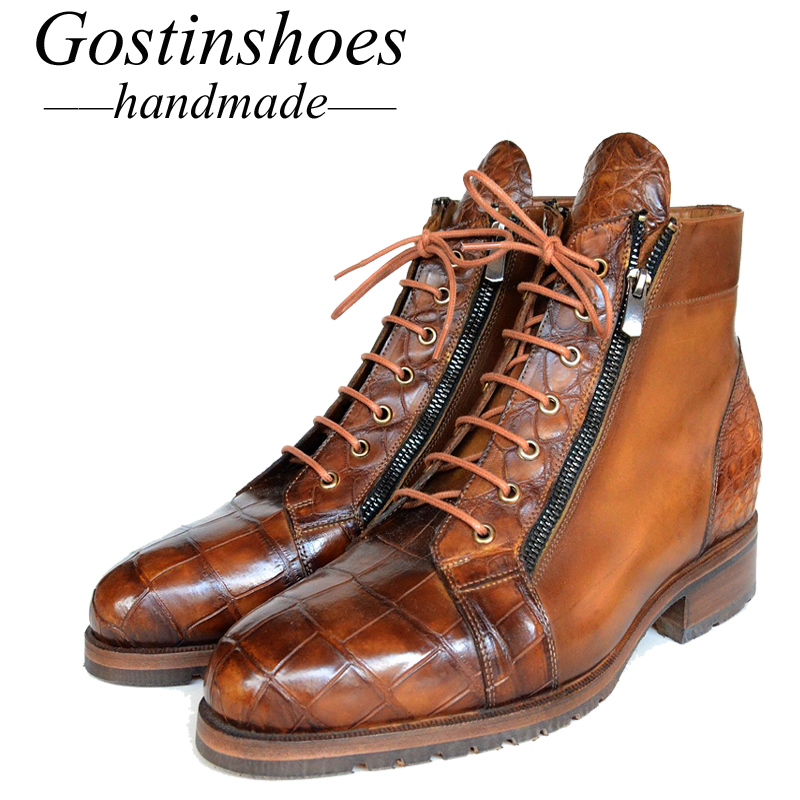 GOSTINSHOES HANDMADE Goodyear Welted Luxury Ankle Boots Men Genuine Brown Crocodile Cap Toe Cow Leather Lace-Up Side Zipper SCF3GOSTINSHOES HANDMADE Goodyear Welted Luxury Ankle Boots Men Genuine Brown Crocodile Cap Toe Cow Leather Lace-Up Side Zipper SCF3