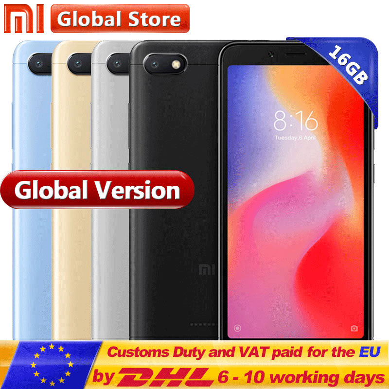 Global Version Xiaomi Redmi 6A 2GB RAM 16GB ROM A22 Redmi 6A Mobile Phone 13.0 MP+5.0MP Dual Camera 3000mAh 5.45 inch(China)