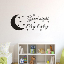 Nursery Home Decor Good Night My Baby Wall Sticker Girls Room Vinyl Quote Mural Removable Poster AY1833