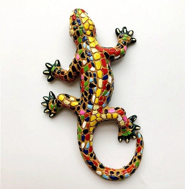 Nuevo mosaico español pintado a mano Gecko lagartija 3D imanes de nevera recuerdos de turismo refrigerador pegatinas magnéticas regalo