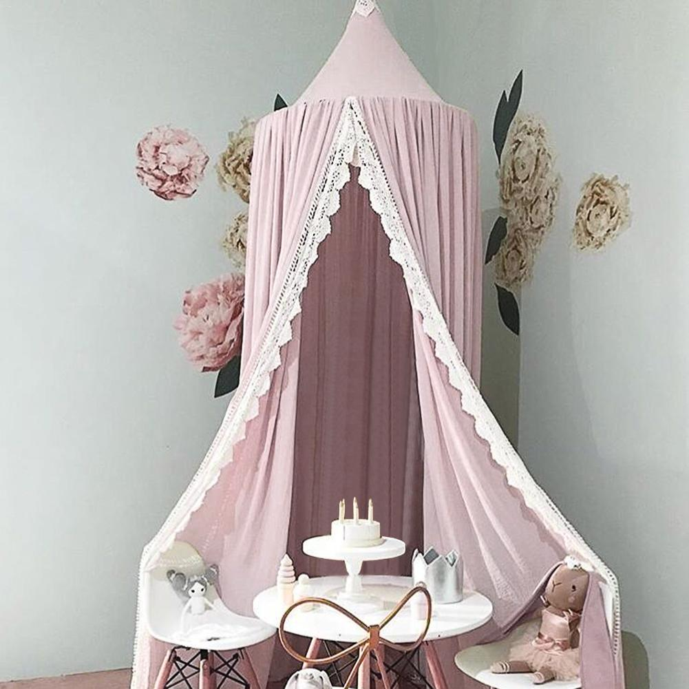 Baby Crib Netting Princess Dome Bed Canopy Childrens Bedding Round Lace Mosquito Net For Baby Sleeping 3pcs set pink baby bedding crib netting folding baby music mosquito nets bed mattress pillow baby crib for baby bed accessories