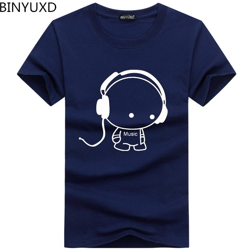 Headset Cartoon Printed Casual T-Shirt Men Cotton Tee Shirt