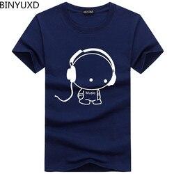 BINYUXD Высокое качество футболки Мода гарнитура мультфильм печатных повседневные мужские футболки брендовая футболка хлопок футболка разме...