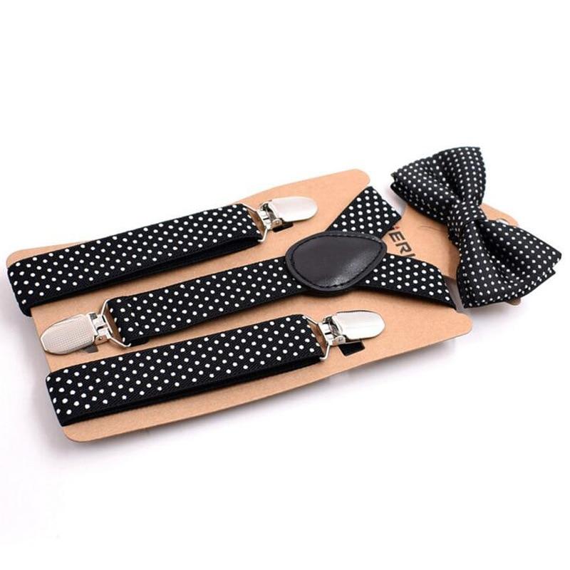 Children Dot Suspenders Bowtie Set Nice Polyester Charming Y-Back Braces Kids Butterfly Belt Bow Tie Adjustable Kinder Bretels