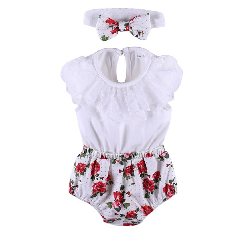 2018 Baby Girl Clothes Newborn Children Clothing Set Sweet Triangle Romper+Cute Headband 2pcs Outfit Bebe Infantil Clothing