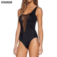 INGAGA Sexy Transparent Mesh One Piece Swimsuit Female Solid Swimwear Women 2018 Deep V Summer Open