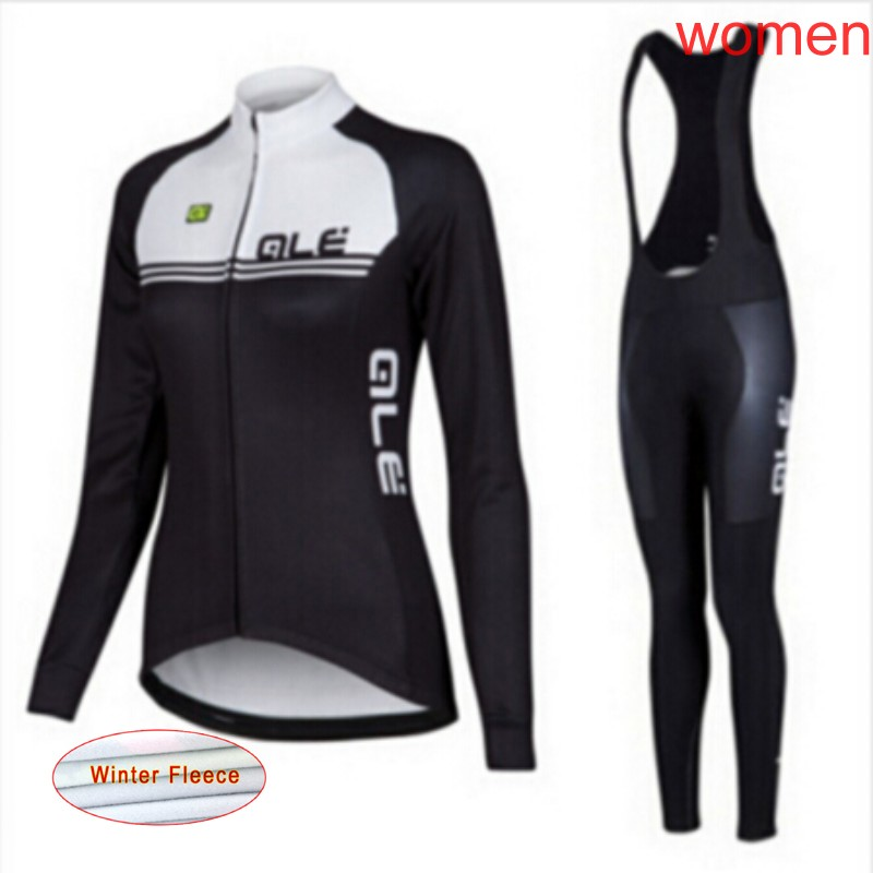 2018 ALE women Cycling Jersey Mtb Bicycle Clothing winter thermal fleece Bike Bib Pants set sports Maillot Ropa Ciclismo A2401 fualrny 2018 winter fleeced thermal cycling clothing set racing bike sportswear maillot ropa ciclismo invierno bicycle jersey