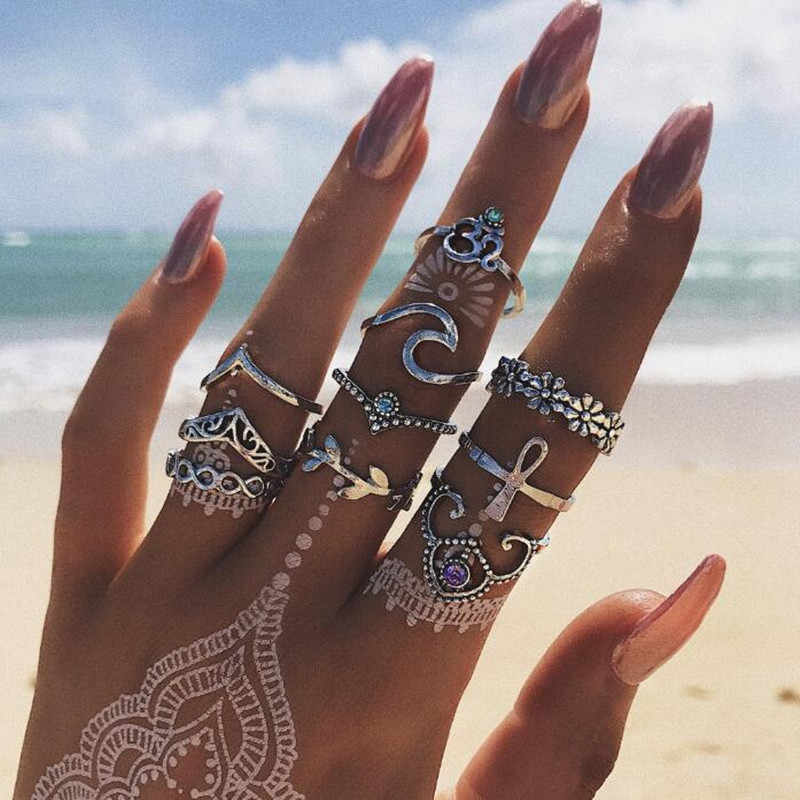 10 Pcs/set Bohemian Vintage Hollow Wave Flowers Geometric Crystal Ring Set Women Charm Joint Ring Party Wedding Jewelry aneis