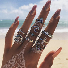 10 Pcs/set Bohemian Vintage Hollow Wave Flowers Geometric Crystal Ring Set Women Charm Joint Party Wedding Jewelry aneis
