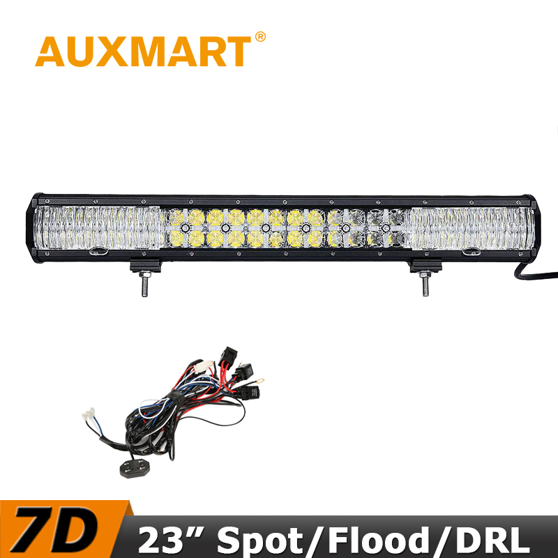 Auxmart LED Light Bar 23 inch 7D 240W CREE Chips Offroad LED Bar Cross DRL Flood Spot Beam Fit Truck RZR ATV 4x4 Tractor