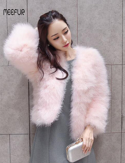 eca3b5dc25 2018 New Fashion Real Ostrich Fur Coats Womens Turkey Fur Solid Jackets  Popular Spring Autumn Outerwear LX00790
