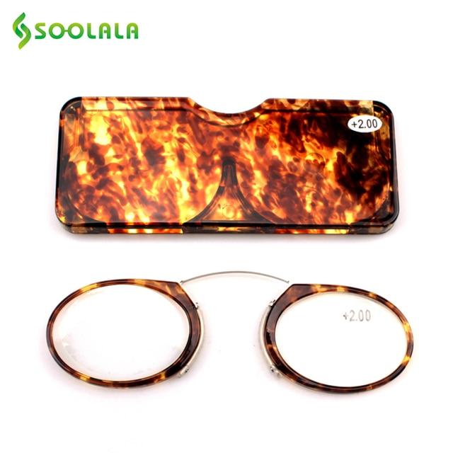 e51bb2e8490e SOOLALA Women Men Nose Resting TR90 Reading Glasses +1.0 to 3.5 Nose  Resting Pinching Portable Wallet Reading Glasses Eyeglasses