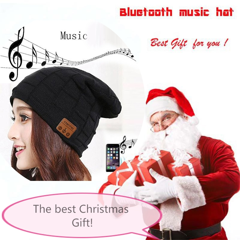 2017 Fashion Beanie Hat Wireless Bluetooth4.0 Earphone Smart Phone Headset Speaker Mic Winter Outdoor Sport Stereo Music Hat Cap unisex winter plicate baggy beanie knit crochet ski hat cap red