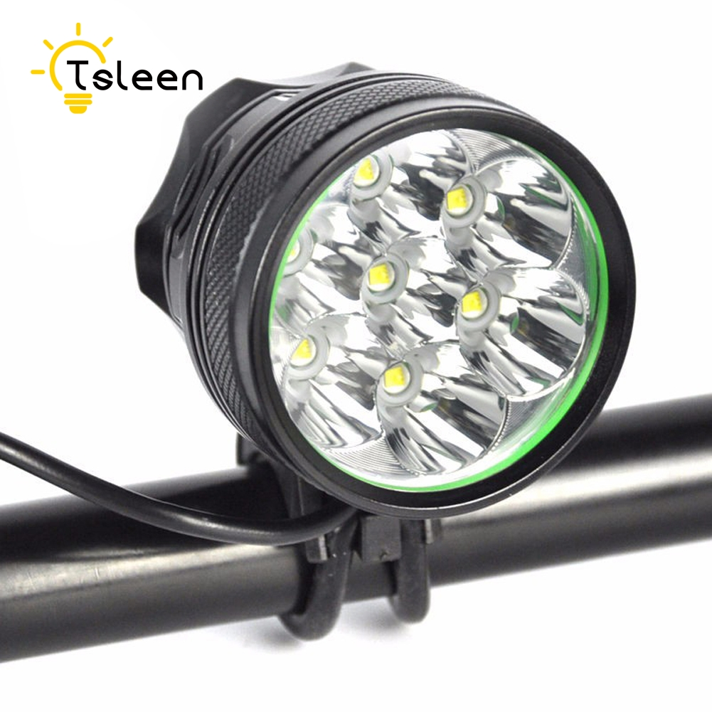 TSLEEN T6 New 7 LED 2 in 1 8400LM 7x XM-L T6 LED Bicycle Light Cycling Bike Headlight Headlamp Head Lamp + Battery Pack +Charger 2 in 1 waterproof headlamp headlight xml t6 outdoor sports head lamp front bikelight& 4 18650 battery pack worked charger