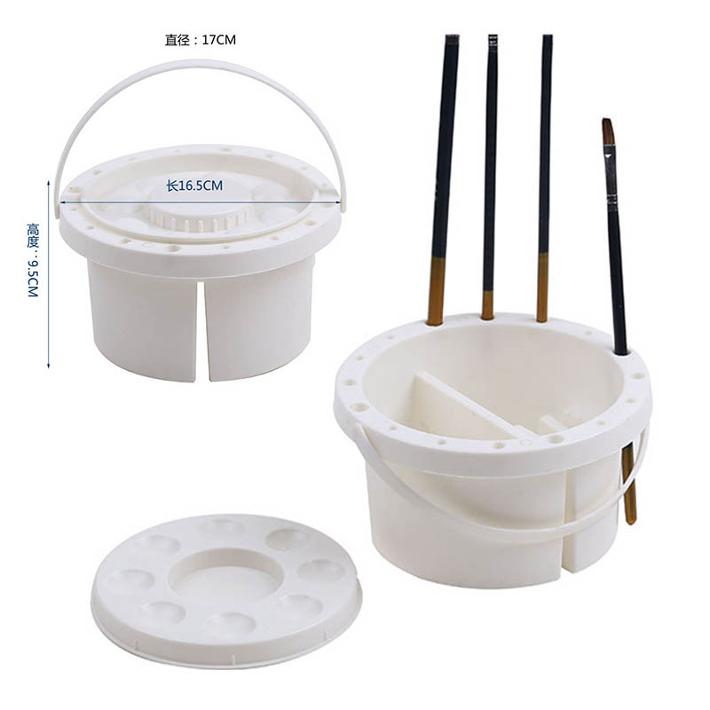 Multifunctional Nylon Thread Drawing Pen 10 Pieces Paint Brush Used For Acrylic Paints Along with 2 Piece Paint Tray Palette Professional Gouache Brush