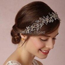 Plata/oro de gama alta de lujo tiara nupcial accesorios para el cabello diadema tocado hecho a mano al por mayor de joyería de perlas de boda coronas