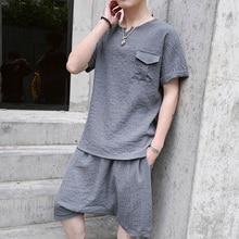 Новые летние мужские комплекты с коротким рукавом футболки повседневный комплект человек из двух час