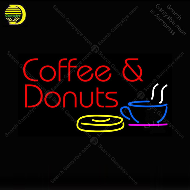Neon Sign Coffee And Donuts With Coffee Neon Sign Real Glass Tube Display Neon Bulb Signboard lighted Decor Room neon light sale