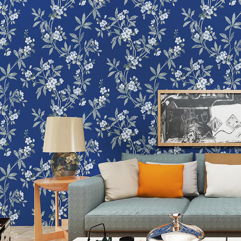 0.53x10 meters Chinese style wallpaper dark blue flower pattern bedroom living room bedside entrance non-woven wallpaper
