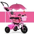 La moda de Nueva Bebé Niños Triciclo Toldo Parasol Coche Paraguas Bebé 1-6 Años de Edad Del Niño Niños Bicicleta Cochecito de Bebé 3 en 1