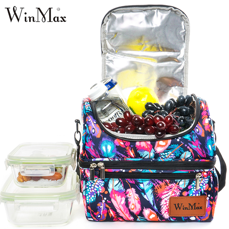 Winmax Aluminum Foil Insulation Thermal Lunch Box Nylon Waterproof Picnic Food Fruit Organizer Large Handbag Family Cooler Bag