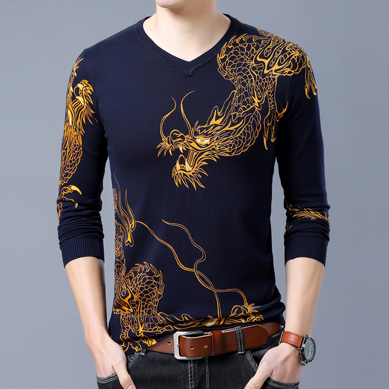 Chinese Dragon Golden Printing Fashion Trend Pullover Knit Sweater Autumn 2018 Quality Cotton Soft Elastic Sweater Men Dark Blue