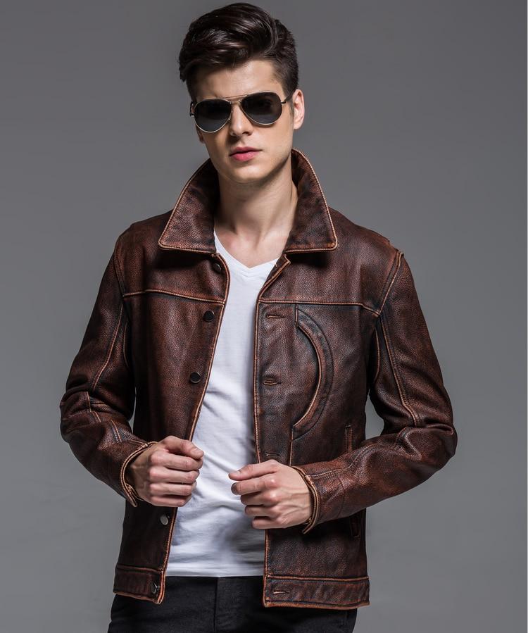 HTB1GWCwnsnI8KJjSsziq6z8QpXa2 2019 Vintage Brown Men Smart Casual Leather Jacket Single Breasted Plus Size XXXL Genuine Cowhide Russian Coat FREE SHIPPING