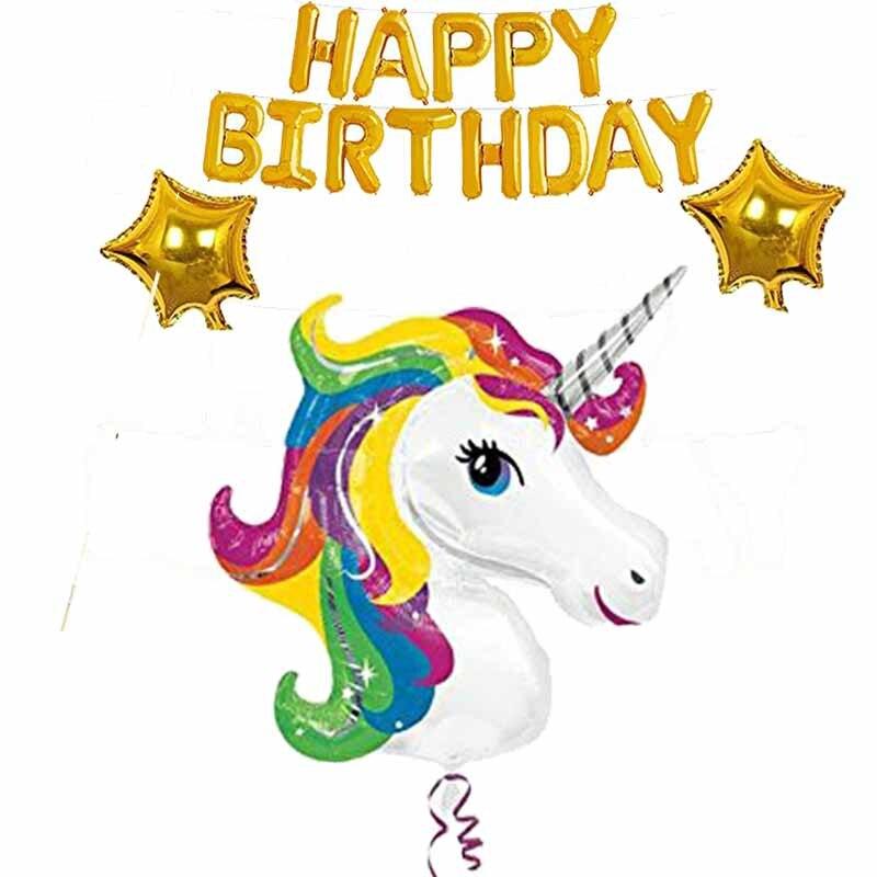 1 Unidades globo del unicornio para niños niñas primera 2th 3th 4th 5th 6th 7th 8th 9th 10th fiesta de cumpleaños baby Shower decoración suministro
