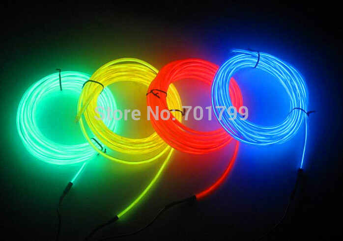 Strong-Willed 3m Long 2.3mm Diameter El Wire Rope Tube;red /yellow /green /white /blue /purple /pink /orange /transparent Bule