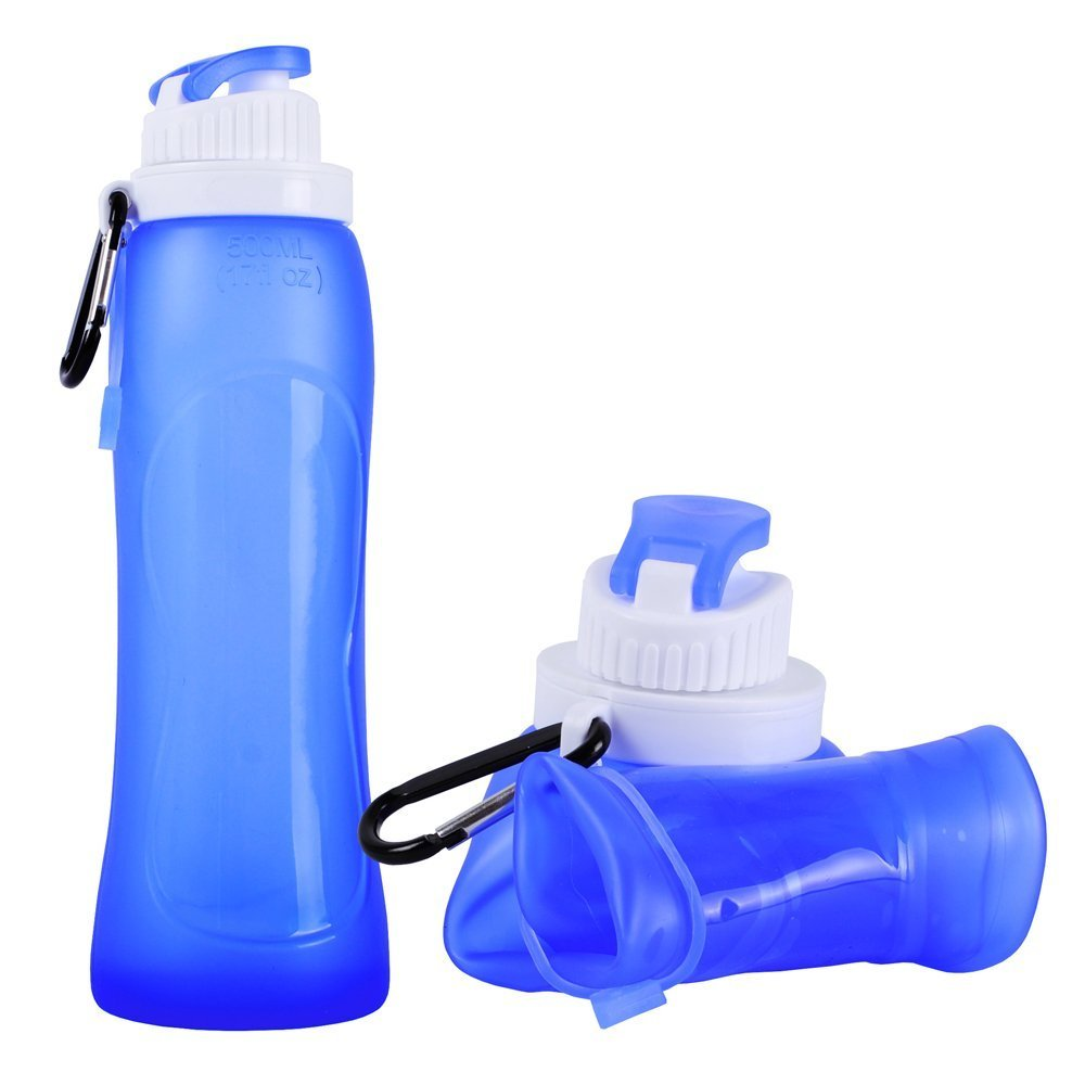 500ml 17oz Silicone Foldable Water Bottle BPA Free Collapsible Portable Travel Outdoor Squeeze Sport Camping Hiking Accessories