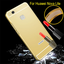 a25267e354d Chrome Phone Cover For Huawei Nova Lite Luxury Gold Plating Aluminum Case  Arcrylic Mirror Cover For