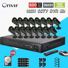 TEATE 16CH CCTV DVR kit 1080P infrared 600TVL Color Day Infrared Night Outdoor indoor Waterproof bullet camera 1TB HDD CK-166