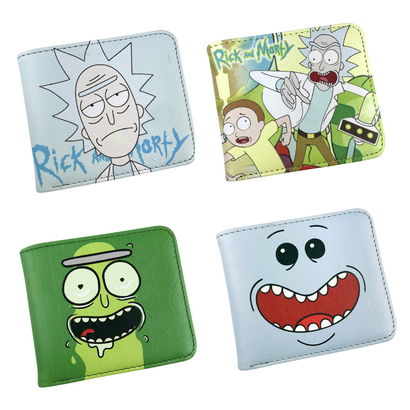 Rick and Morty Anime PU Wallet Cool Gift Purse Bifold Card Holder Colorful Cartoon Printing Money Bag