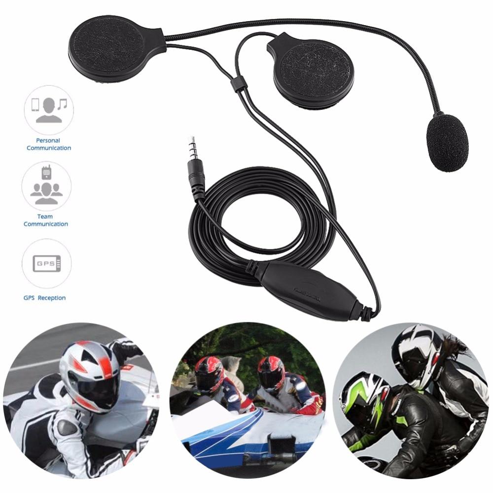 Motorcycle Helmet Headphone Stereo Headset Call Earphone 3.5mm Jack-plug Adjustable Microphone