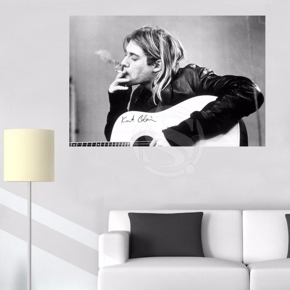 ①Personalizada GB ojo Kurt Cobain fumar lienzo tela de impresión ...