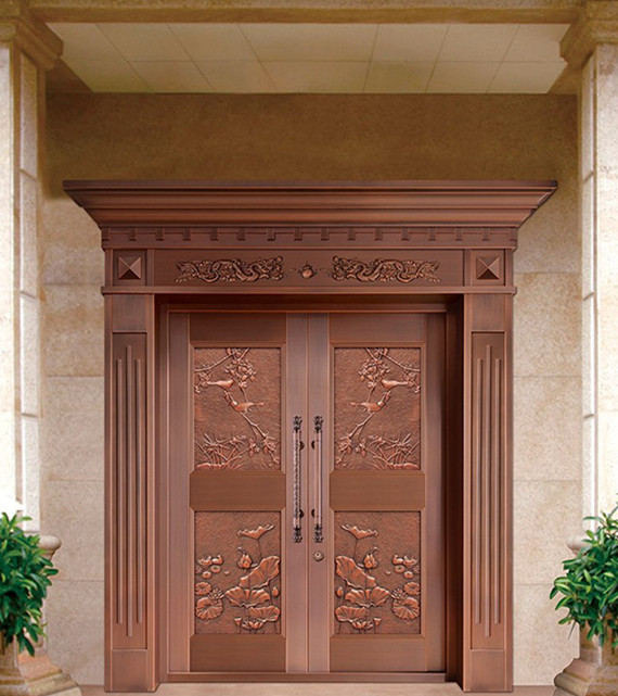 Bronze Door Security Copper Entry Doors Antique Copper Retro Door Double Gate Entry Doors H-c5